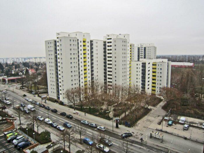 Fassadengestaltung Hochhausgruppe, Gesobau, Märkisches Viertel Berlin