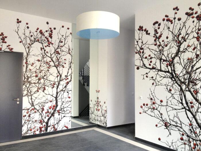 Elegante Wandgestaltung für ein Foyer einer Stadtvilla